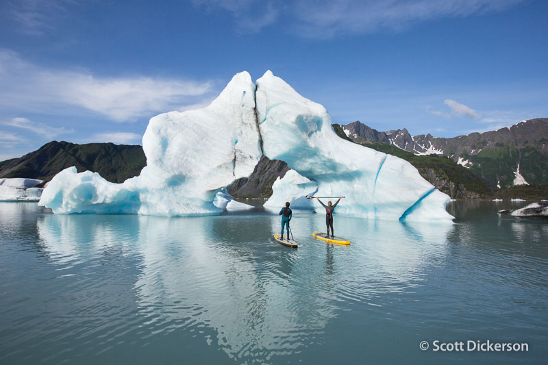 A glacial lake SUP